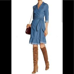 Diane von Furstenberg Light denim Aya wrap dress